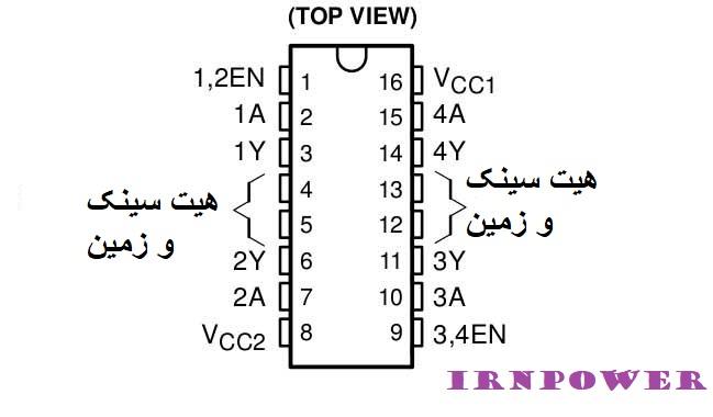 پین های خروجی L293D